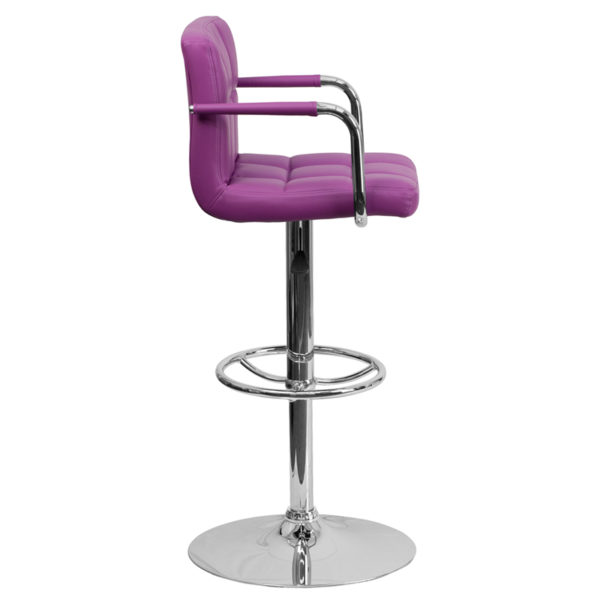 Contemporary Style Stool Purple Quilted Vinyl Barstool