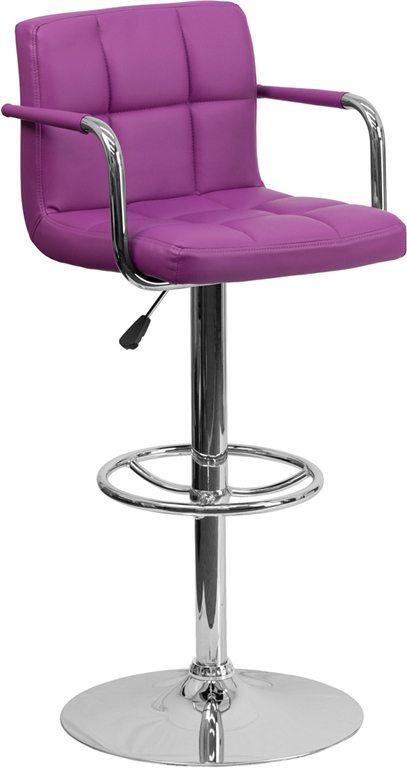 Wholesale Contemporary Purple Quilted Vinyl Adjustable Height Barstool with Arms and Chrome Base