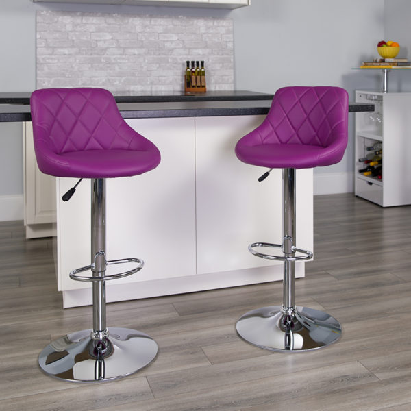 Lowest Price Contemporary Purple Vinyl Bucket Seat Adjustable Height Barstool with Diamond Pattern Back and Chrome Base