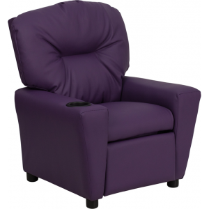 Wholesale Contemporary Purple Vinyl Kids Recliner with Cup Holder