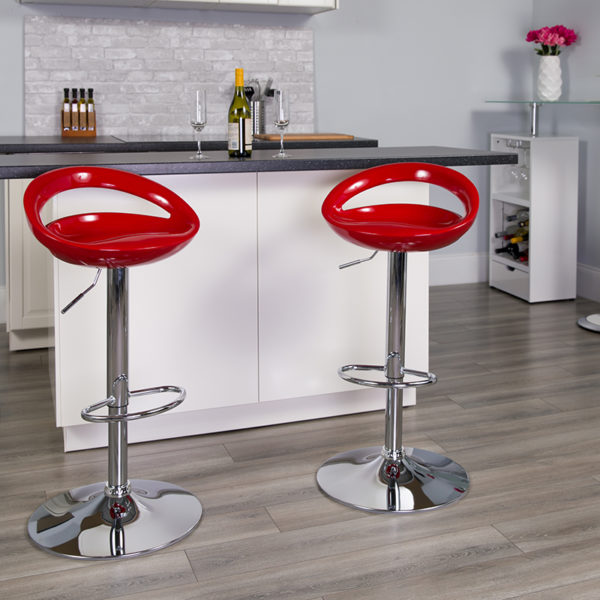 Lowest Price Contemporary Red Plastic Adjustable Height Barstool with Rounded Cutout Back and Chrome Base
