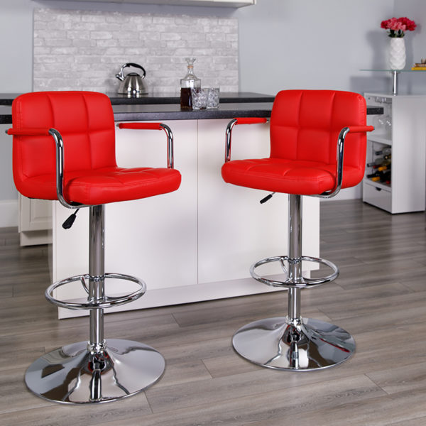 Lowest Price Contemporary Red Quilted Vinyl Adjustable Height Barstool with Arms and Chrome Base