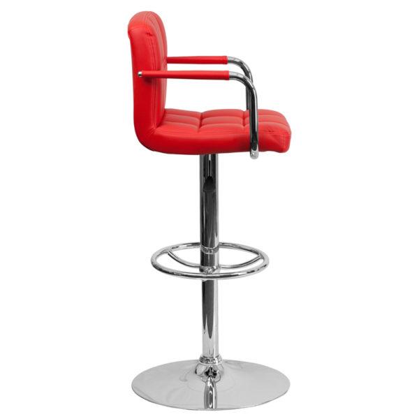 Contemporary Style Stool Red Quilted Vinyl Barstool