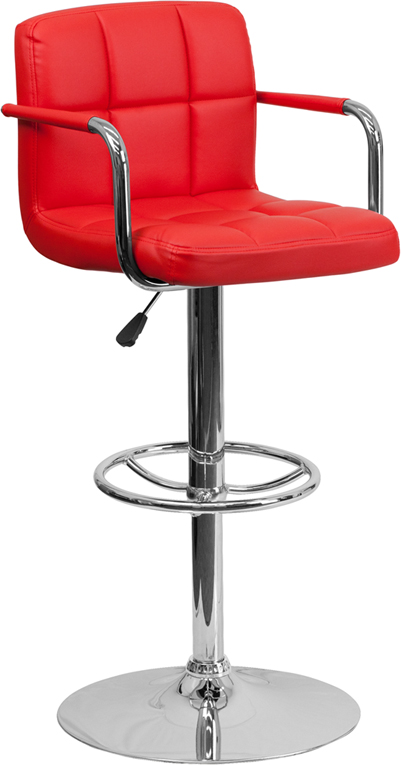 Wholesale Contemporary Red Quilted Vinyl Adjustable Height Barstool with Arms and Chrome Base