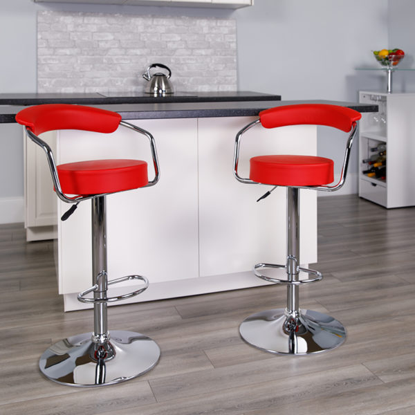 Lowest Price Contemporary Red Vinyl Adjustable Height Barstool with Arms and Chrome Base