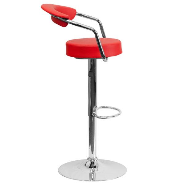 Retro Style Stool Red Vinyl Barstool