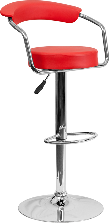 Wholesale Contemporary Red Vinyl Adjustable Height Barstool with Arms and Chrome Base