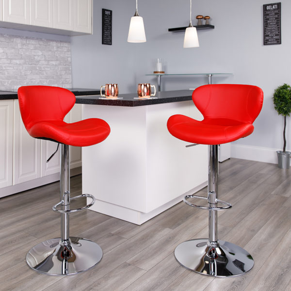 Lowest Price Contemporary Red Vinyl Adjustable Height Barstool with Curved Back and Chrome Base