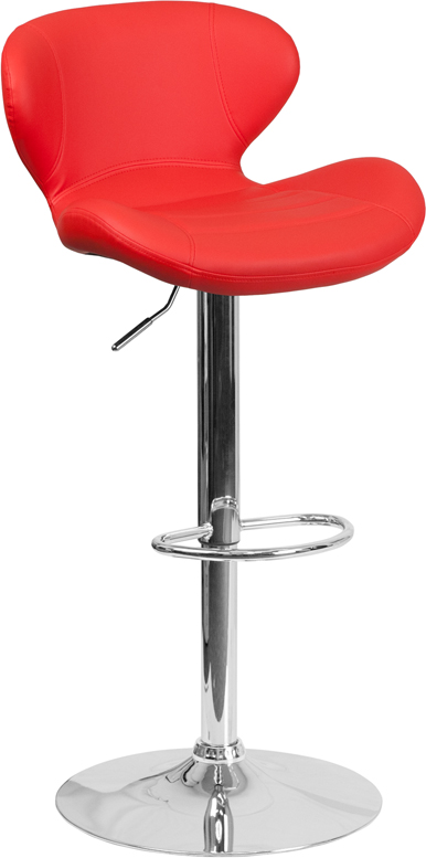 Wholesale Contemporary Red Vinyl Adjustable Height Barstool with Curved Back and Chrome Base