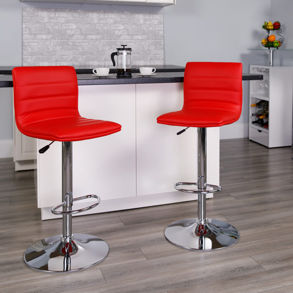 Lowest Price Contemporary Red Vinyl Adjustable Height Barstool with Horizontal Stitch Back and Chrome Base