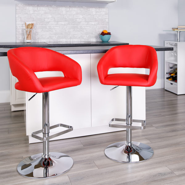 Lowest Price Contemporary Red Vinyl Adjustable Height Barstool with Rounded Mid-Back and Chrome Base