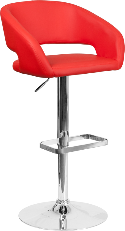 Wholesale Contemporary Red Vinyl Adjustable Height Barstool with Rounded Mid-Back and Chrome Base
