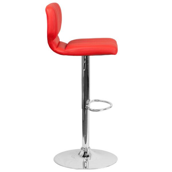 Contemporary Style Stool Red Vinyl Barstool