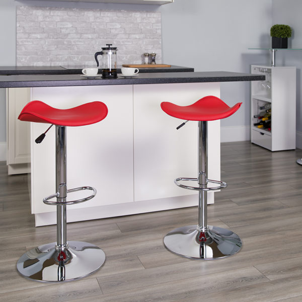 Lowest Price Contemporary Red Vinyl Adjustable Height Barstool with Wavy Seat and Chrome Base