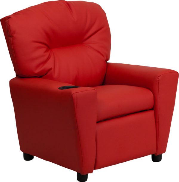 Wholesale Contemporary Red Vinyl Kids Recliner with Cup Holder