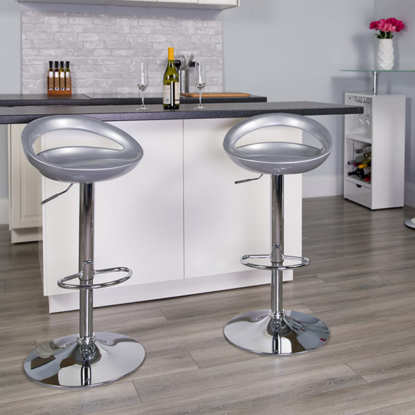 Lowest Price Contemporary Silver Plastic Adjustable Height Barstool with Rounded Cutout Back and Chrome Base