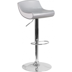 Wholesale Contemporary Silver and White Adjustable Height Plastic Barstool with Chrome Base