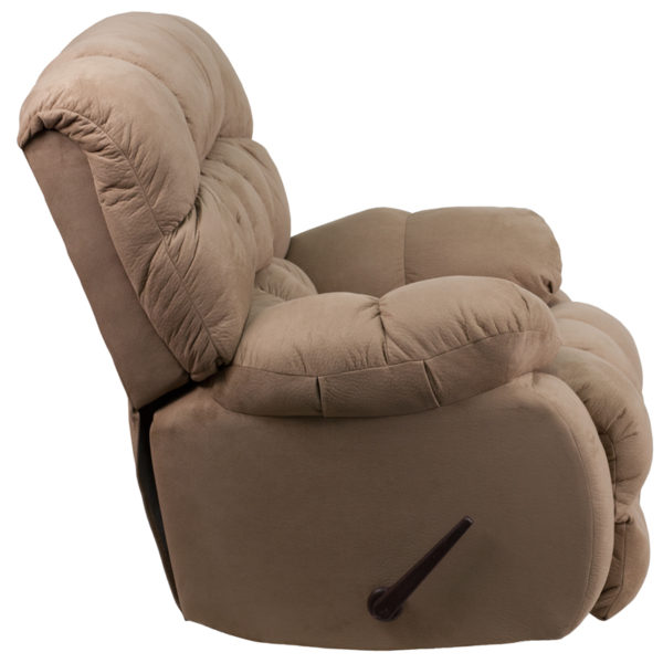 Lowest Price Contemporary Softsuede Taupe Microfiber Rocker Recliner