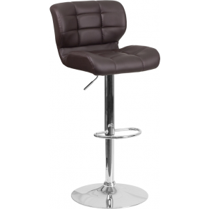Wholesale Contemporary Tufted Brown Vinyl Adjustable Height Barstool with Chrome Base
