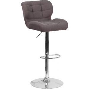 Wholesale Contemporary Tufted Dark Gray Fabric Adjustable Height Barstool with Chrome Base