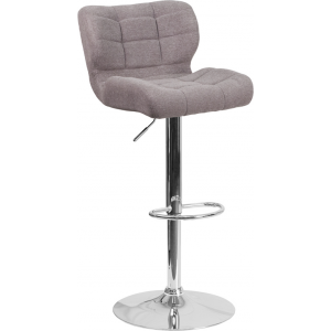 Wholesale Contemporary Tufted Gray Fabric Adjustable Height Barstool with Chrome Base