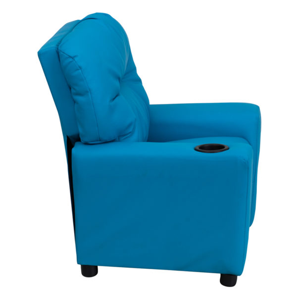 Lowest Price Contemporary Turquoise Vinyl Kids Recliner with Cup Holder