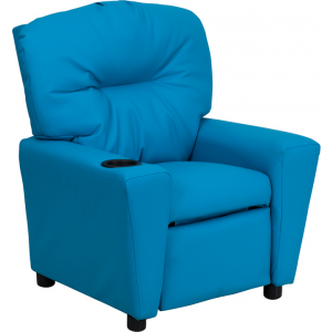 Wholesale Contemporary Turquoise Vinyl Kids Recliner with Cup Holder