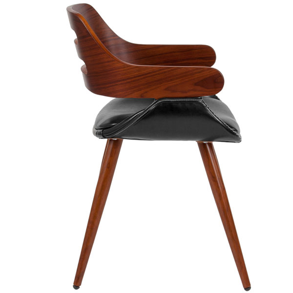 Lowest Price Contemporary Walnut Bentwood Side Reception Chair with Cross Stitched Black Leather Seat