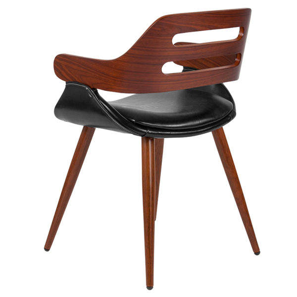 Guest Office Chair Walnut/Leather Side Chair