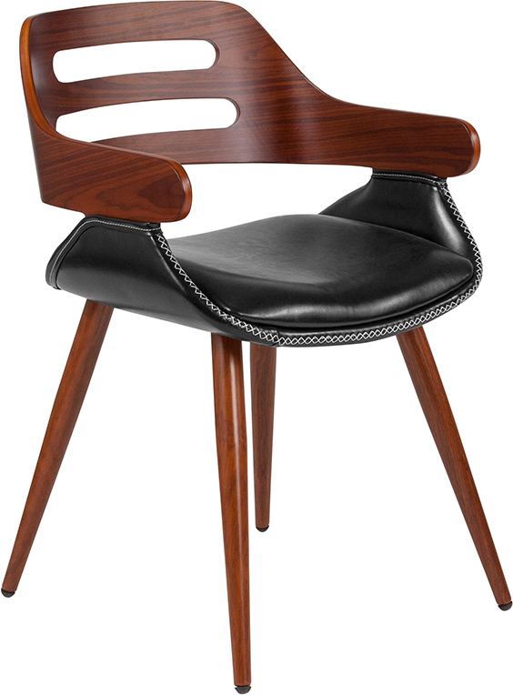 Wholesale Contemporary Walnut Bentwood Side Reception Chair with Cross Stitched Black Leather Seat