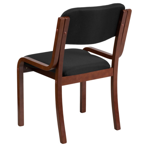 Executive Side Office Chair Walnut Wood Black Side Chair