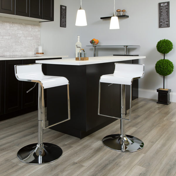 Lowest Price Contemporary White Plastic Adjustable Height Barstool with Chrome Drop Frame