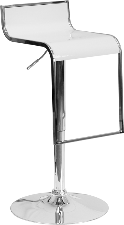 Wholesale Contemporary White Plastic Adjustable Height Barstool with Chrome Drop Frame