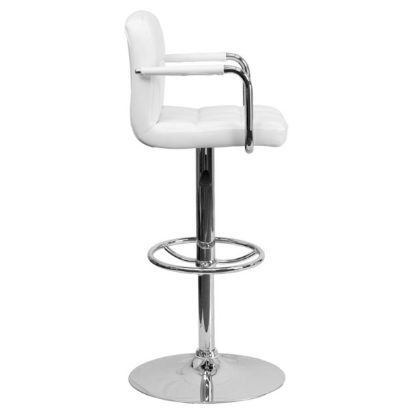 Lowest Price Contemporary White Quilted Vinyl Adjustable Height Barstool with Arms and Chrome Base