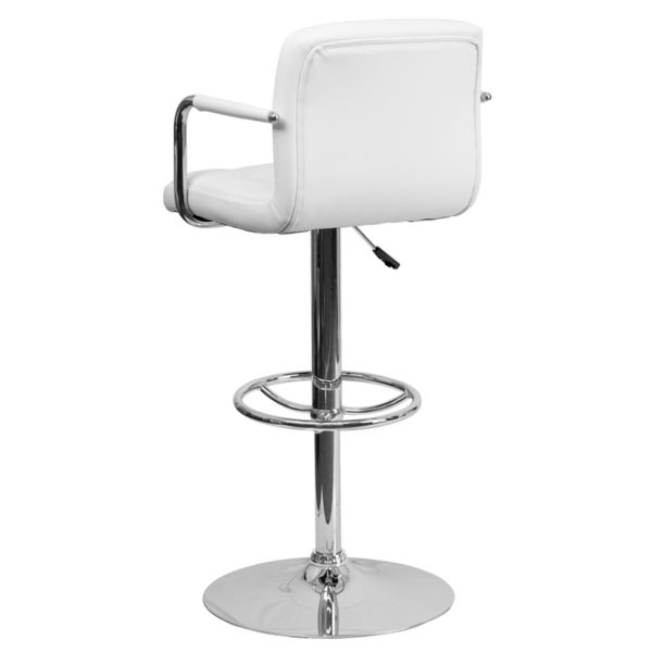 Contemporary Style Stool White Quilted Vinyl Barstool