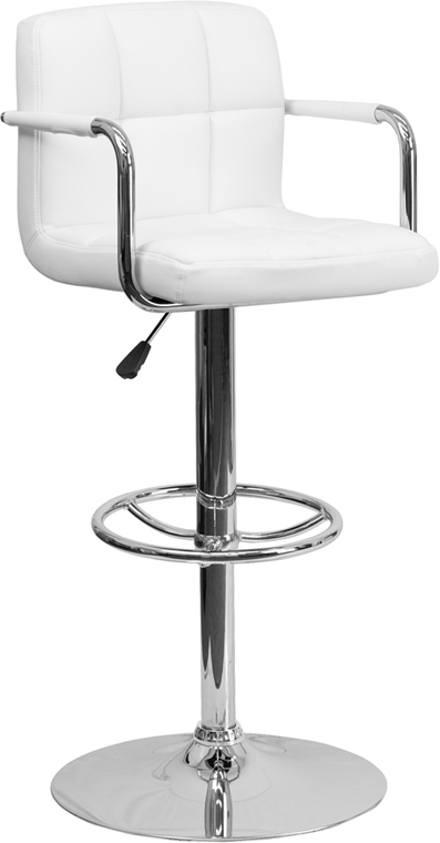 Wholesale Contemporary White Quilted Vinyl Adjustable Height Barstool with Arms and Chrome Base