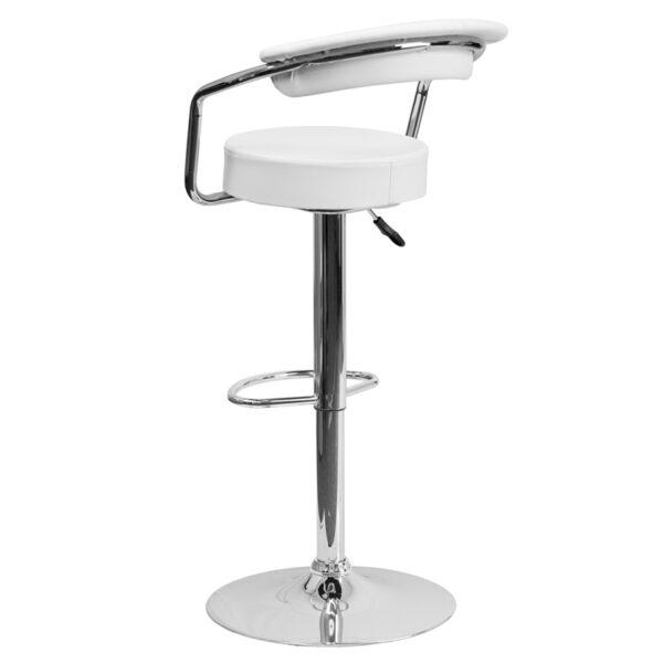 Retro Style Stool White Vinyl Barstool