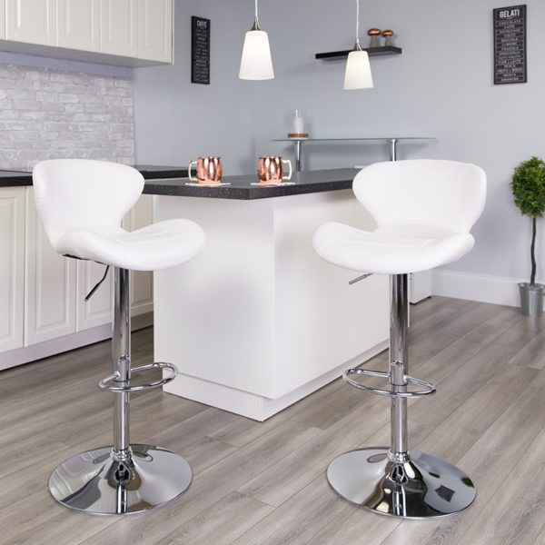 Lowest Price Contemporary White Vinyl Adjustable Height Barstool with Curved Back and Chrome Base