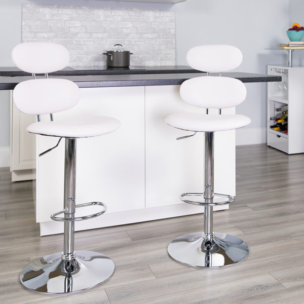 Lowest Price Contemporary White Vinyl Adjustable Height Barstool with Ellipse Back and Chrome Base