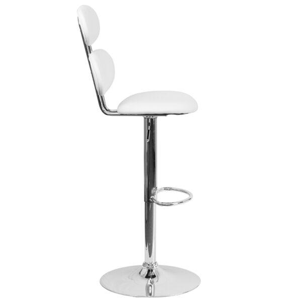 Retro-Contemporary Style Stool White Vinyl Barstool