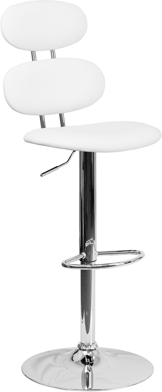Wholesale Contemporary White Vinyl Adjustable Height Barstool with Ellipse Back and Chrome Base
