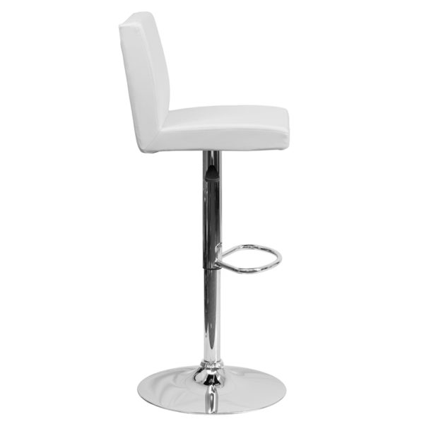 Lowest Price Contemporary White Vinyl Adjustable Height Barstool with Panel Back and Chrome Base