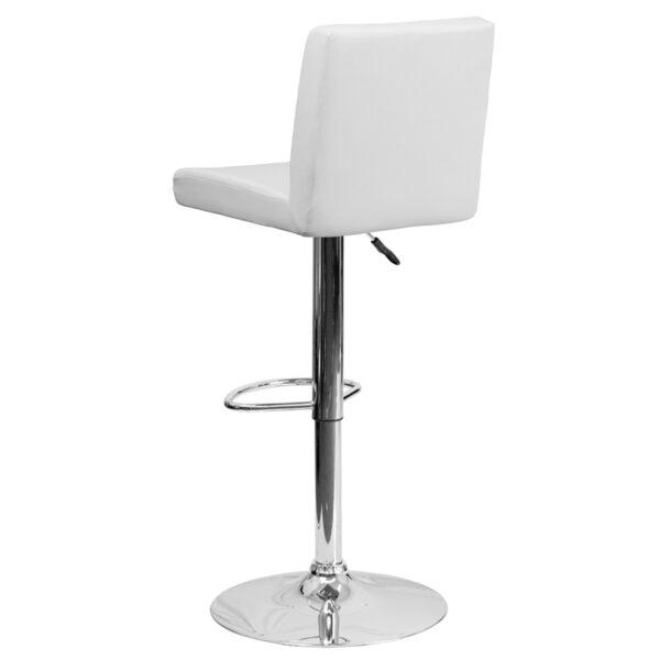 Contemporary Style Stool White Vinyl Barstool