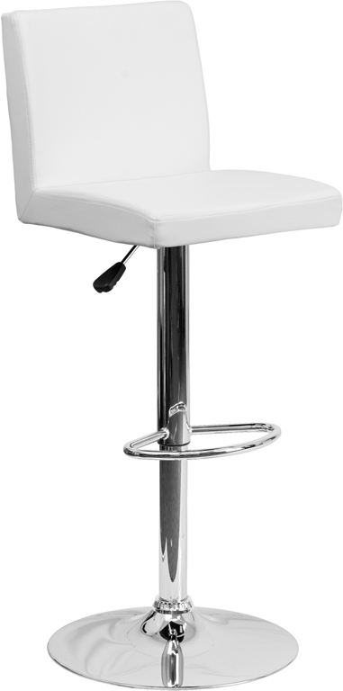 Wholesale Contemporary White Vinyl Adjustable Height Barstool with Panel Back and Chrome Base