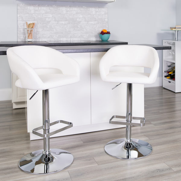 Lowest Price Contemporary White Vinyl Adjustable Height Barstool with Rounded Mid-Back and Chrome Base