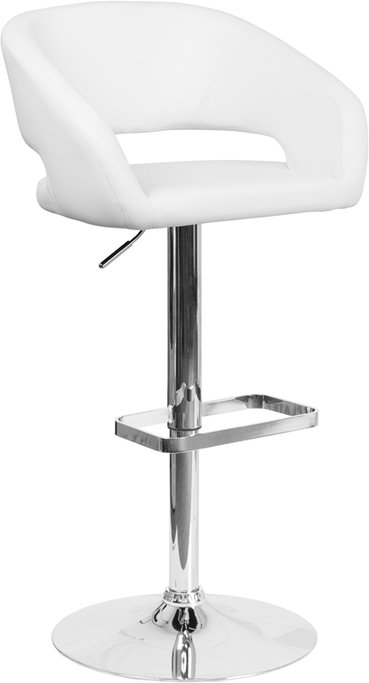 Wholesale Contemporary White Vinyl Adjustable Height Barstool with Rounded Mid-Back and Chrome Base