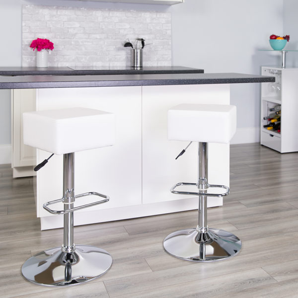 Lowest Price Contemporary White Vinyl Adjustable Height Barstool with Square Seat and Chrome Base