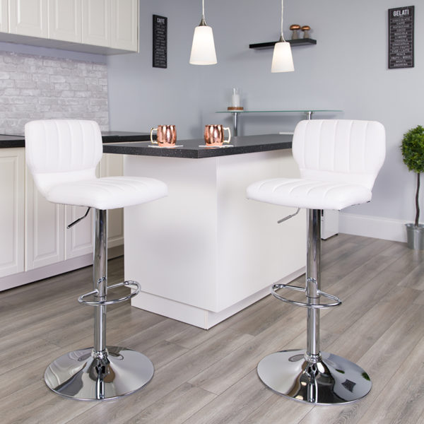 Lowest Price Contemporary White Vinyl Adjustable Height Barstool with Vertical Stitch Back and Chrome Base
