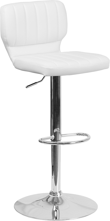 Wholesale Contemporary White Vinyl Adjustable Height Barstool with Vertical Stitch Back and Chrome Base