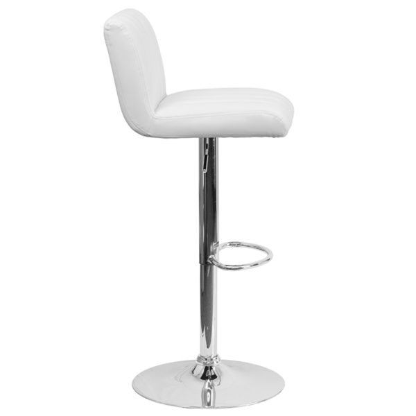 Lowest Price Contemporary White Vinyl Adjustable Height Barstool with Vertical Stitch Back/Seat and Chrome Base